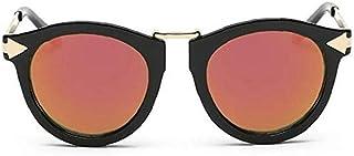 fedsjuihyg - Unisex Gafas de Sol polarizadas Retro clásico de Moda con Estilo Gafas de Sol UV Protección de Cristal Hombres Mujeres Negro y Rojo 1PC