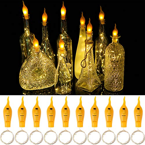 10 Stück Flaschen Licht 20 LED Lichterkette batteriebetriebene Kupferdraht Kork Flaschen-Licht,Weinflasche Lichter mit Kork Schnurlicht für DIY Deko,Weihnachten,Party (Flammenkoken Lichter-Warmweiß)