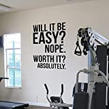 Worth It? Gym Wall Vinyl Decal - Motivational Quote Fitness Weight Loss Diet - Kettlebell Health and Fitness Spinning Crossfit - Workout Boxing UFC Vinyl Decor - Sticker Home Art Print (w:15' h:22')