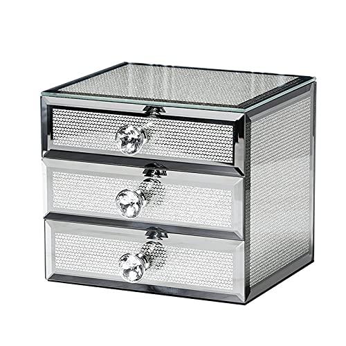 OMYLFQ Caja Organizador de joyería de Vidrio con 3 cajón Diamond Manden Llory Mostrar Case Contenedores de artesanía para Gemelos, Anillos, Colgantes, organización de Cadena