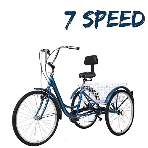 VANELL Adult Tricycle 7 Speed Three Wheel Trike Bike Cruiser Adult Trikes Low Step-Through W/Large Size Basket for Women Men Shopping Exercise Recreation (Celtic Blue, 24in Dia.Wheels)