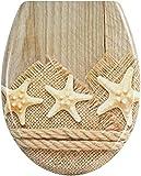 P.M. Asiento de inodoro con tapa (bajada automática), Estrella de mar en madera., mit Absenkautomatik