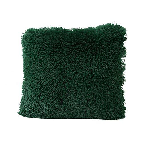 WINOMO Housse de coussin en Peluche Taie d'Oreiller décoration pour canapé,salon,chambre(Vert)