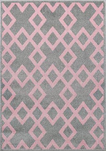 Tienertapijt kinderkamer designer kindertapijt lijnen ruiten in zilvergrijs roze