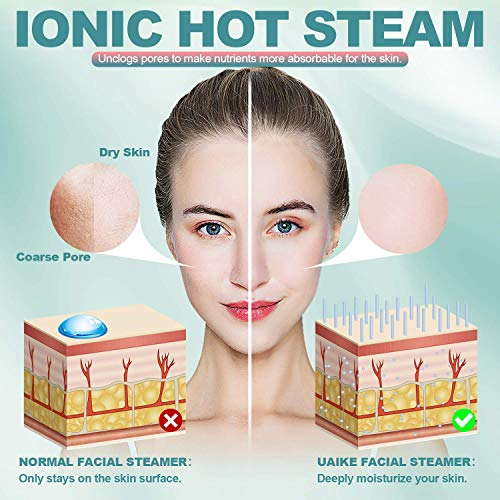 Facial Steamer - Uaike Professional 2-in-1 Nano Ionic Face Steamer for Sauna Spa - Warm Mist Humidifier - Skin Rejuvenation - Moisturizing - Unclogs Pores - Bonus 5 Piece Stainless Steel Skin Kit