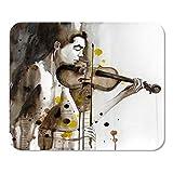 Mousepad Computer Notepad Office Aquarell Modernes Porträt eines jungen Mannes mit Violine...