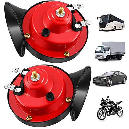 [2 Pack] 300DB Super Loud Train Horn for Truck Train Boat Car Air Electric Snail Single Horn, 12v Waterproof Double Horn Raging Sound Raging Sound for Car Motorcycle