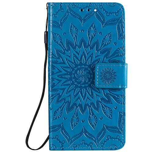 NEINEI Handyhülle für Oppo Reno 6 5G Hülle,PU/TPU Lederhülle Klapphülle mit [Kartenschlitz] [Magnetisch],3D Blumen Muster Tasche Schutzhülle Flip Cover Hülle,Blau