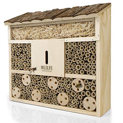WILDLIFE FRIEND I Bienenhotel Insektenhotel mit Holz-Dach - unbehandelt, Bienenhaus aus Massiv-Holz für Bienen, Marienkäfer & Florfliegen, Insektenhaus &...