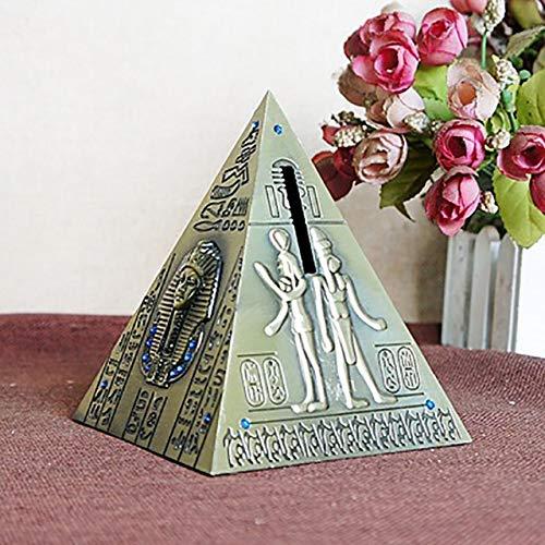 CBVG Creativo Retro Pirámide Egipcia Fine Tourism Souvenir Hucha Decoración de Escritorio Caja de Ahorro de Dinero, Bronce Medio