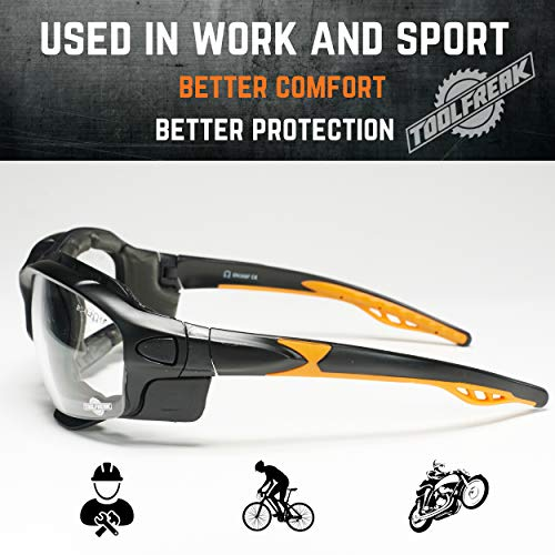 ToolFreak Spoggles Safety Glasses for Work and Sport, ANSI Z87 Rated, Foam Padded, Clear Distortion Free Lenses, UV and Impact Protection, Headstrap and Carry Pouch