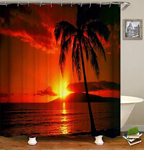 Fansu Duschvorhang Vorhang für Badzimmer Anti-Schimmel Wasserdicht Antibakteriell 3D Kokosnussbaum Drucken, 100% Polyester Transparent Karikatur mit 12 Duschvorhangringe (180x200cm,Sonnenuntergang)