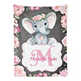 Personalized Baby Blanket, Monogram Pink Floral Elephant Custom Nursery Swadding Blankets 30x40 Inches for Baby Boy Girl with Name Baby Shower Birthday Gift
