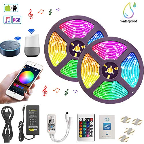 10M Striscia LED WiFi, RGB LED Strip 5050 SMD 300 LEDs (2 x 150), Sync con Musica, Impermeabile IP65, Smart Telefono App Controllato LED Band, Lavoro con Alexa, Google Home (10M Striscia LED WiFi)