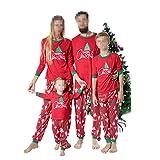 DISCOUNTL Pijamas de Navidad a juego para mujer europeas y americanas con estampado de árbol de Navidad para padres e hijos