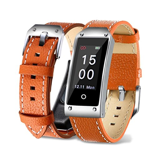 Fuibo Smartwatch, Y2 Farbe Bildschirm Blutdruck / Herzfrequenz Armband Smart Watch Armband Sport | Intelligente Armbanduhr Sport Fitness Tracker Armband (Orange)
