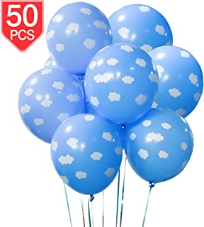 PROLOSO Blue Clouds Latex Balloons for Baby Shower Birthday Party Ceremony Decorations 50 Pcs