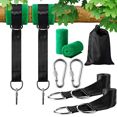 1 Paar Swing Hanging 2*1.5 Meter Schaukel Befestigung Gurt Kit Aufhängeset Befestigungsset Hängesessel für Hängematten Schaukeln an Bäumen mit 2 Baumschutz Polster,2 Karabiner und 2 D-Ring,Max 500kg