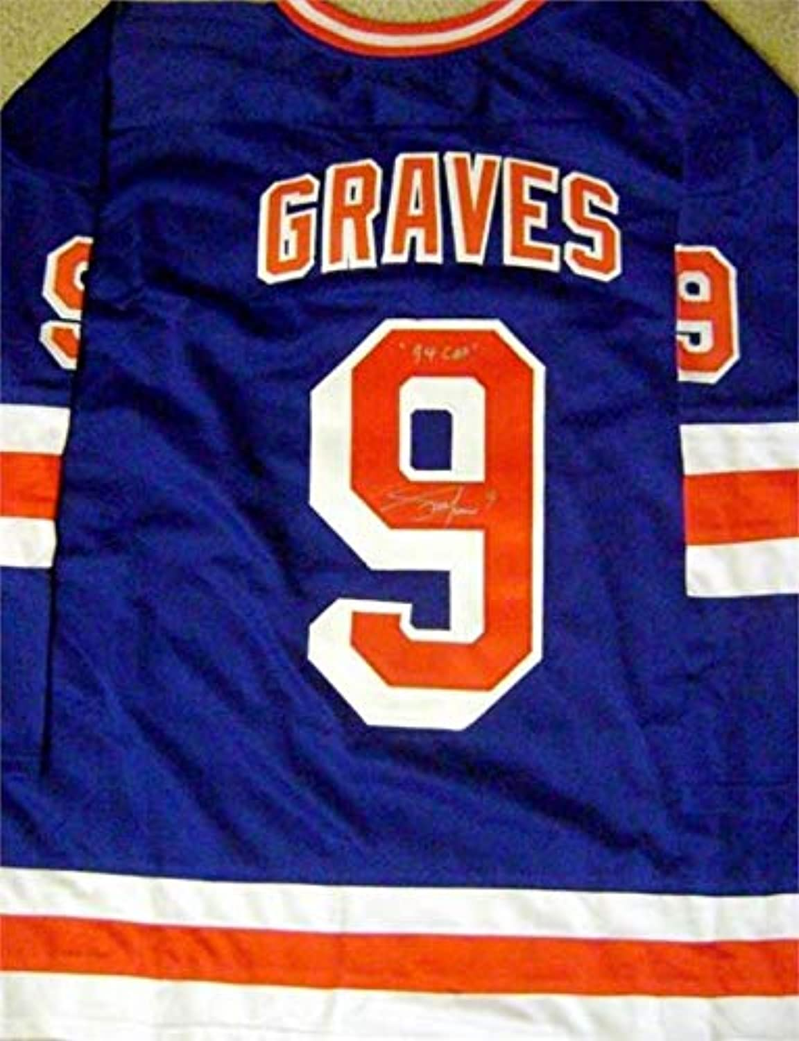 Autographed Adam Graves Jersey  Road blueee inscribed 94 Cup  Autographed NHL Jerseys