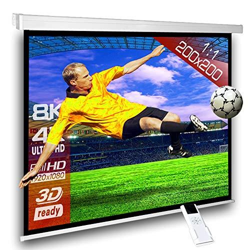 SlenderLine Schermo Proiezione Motorizzato 200x200cm Formato 1:1 con radiocomando per installazione a parete o soffitto
