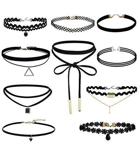 Hoveey 10 Stück Choker Halskette für Frauen Mädchen Schwarz Klassisch Stretch Gothic Tattoo Spitze für Sommerkleid