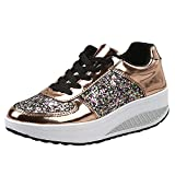 Patifia Sportschuhe Damen, Damen Damen Wedges Sneakers Pailletten Shake Schuhe Mode Mädchen Slip On Laufschuhe Verspiegelte Plateau-Wedge-erhöhte untere Sneakers Freizeitschuhe