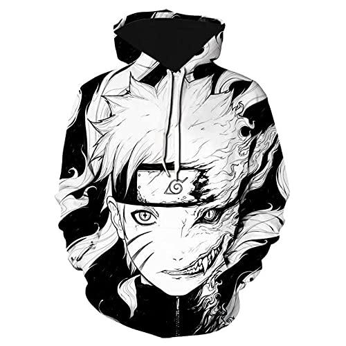 Men Hokage Ninjia Naruto Printed Drawstring Hooded Cool Long Sleeve Loose Fit Hoodies AX Large