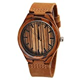 Cucol(クコル) ファション木製腕時計 本革バンド 高級ブランド腕時計 木製竹の木の人気高いアントラーズ画像彫刻クロック (136)