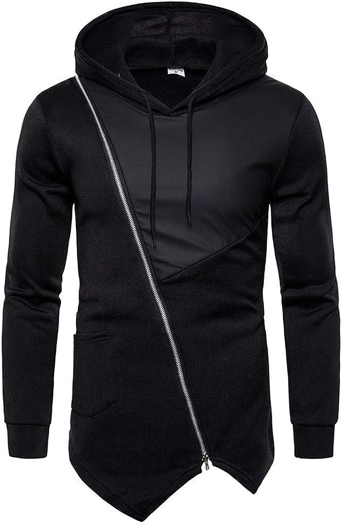 Hoodies for Men, Misaky Casual Colorblock Patchwork Long Sleeve Diagonal Zips Pullover Hooded Sweatshirts