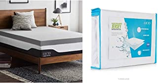 Lucid 4 Inch Bamboo Charcoal Memory Foam Mattress Topper - Queen & Premium Rayon from Bamboo Jersey Mattress Protector - Ultra Soft - Waterproof - Dust Mite Proof - Hypoallergenic - Queen