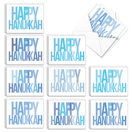 The Best Card Company - 20 Blank Hanukkah Cards Boxed (10 Designs, 2 Each) - Assorted Religious Chanukah Notecards, Jewish Holiday - Holidays in Blue AM3697HKB-B2x10