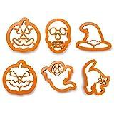 Zeus Party Kit 6 stampini tagliapasta Halloween - Zucca Strega Fantasma Teschio Gatto per i Tuoi dolcetti di Halloween