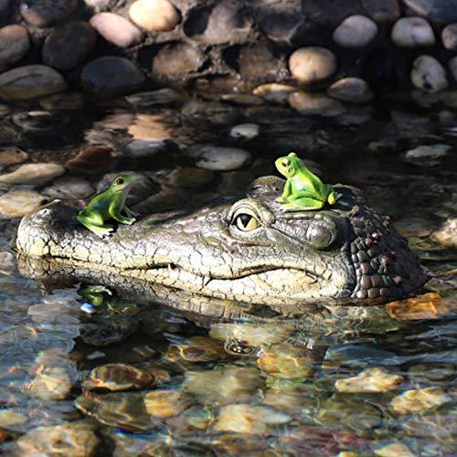 Alligator Head Decoy & Pond Float 13 Zoll Riesen realistischer Look Schwimmende Alligator Decoy Fun Outdoor-Wasser schwimmenden Krokodilkopf Art Decor treibt Enten für Pool, Teich und Garten
