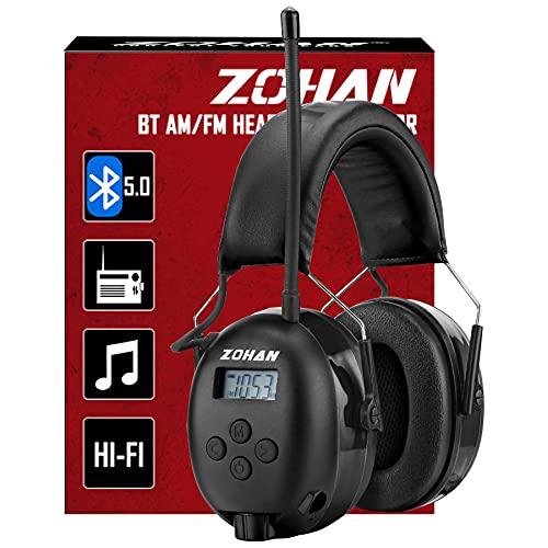 ZOHAN 033 Bluetooth 5.0 AM FM Radio Headphones, 25dB NRR Hearing Protection for Mowing Lawn (Bluetooth-Black)