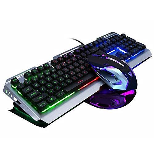 Gaming Tastatur und Maus Set,SUAVER Wired LED Hintergrundbeleuchtung Tastatur Maus,Metall USB Wasserdicht Tastatur Gaming Maus(800/1200/2400/3200 DPI) für Pro PC Gamer (Schwarz/Mix Licht)