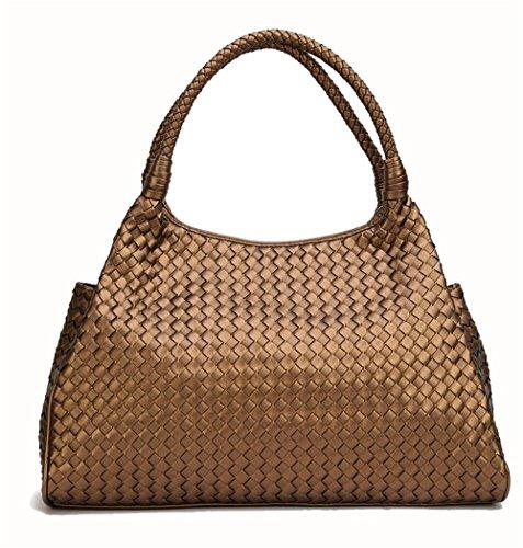 Damenhandtasche Mode handgefertigt Damen Knödel Reißverschluss Handtaschen Premium PU Umhängetaschen (Farbe : Bronze)