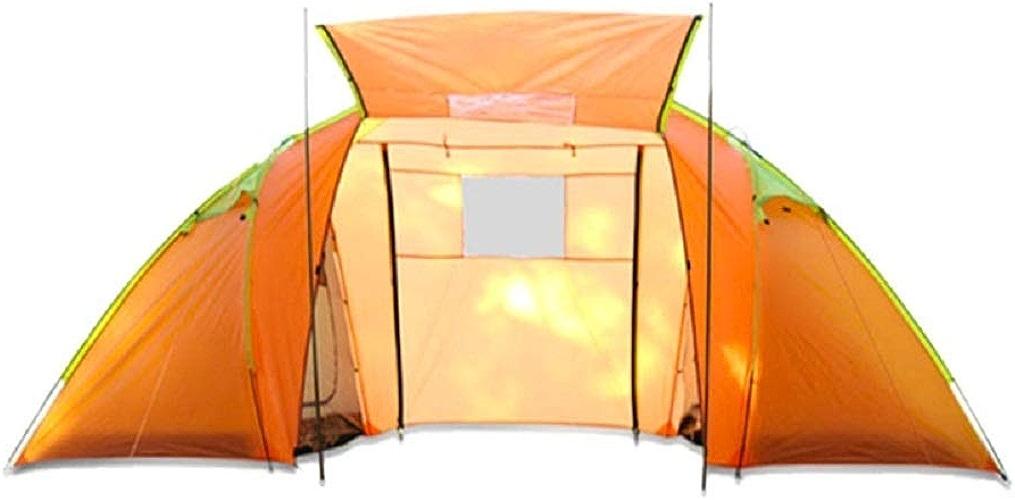 GZW001 Tente de Camping extérieure Manuelle 4 Personnes, étanche et Anti-moustiques, Orange