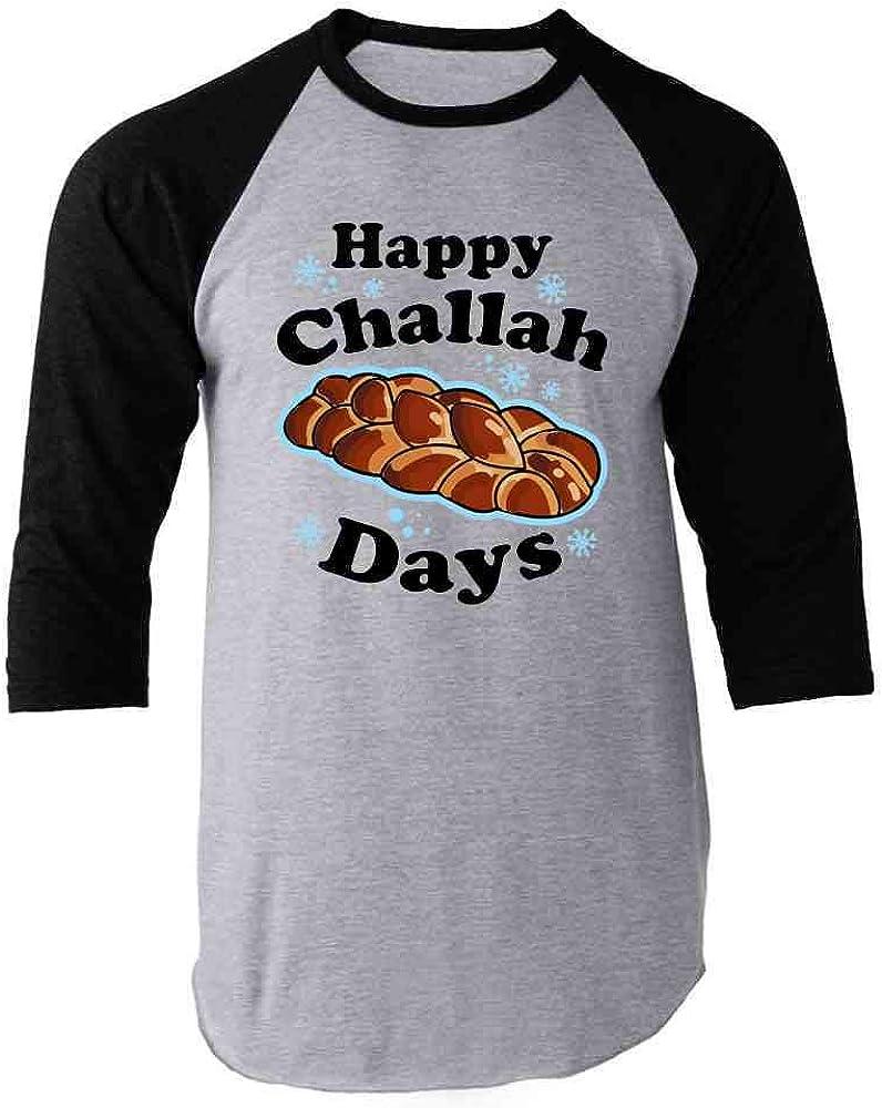 Pop Threads Happy Challah Days Funny Hanukkah Raglan Baseball Tee Shirt