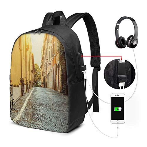 WEQDUJG Mochila Portatil 17' Pulgadas Mochila Hombre Mujer con Puerto USB, Wanderlust 13 Mochila para El Laptop para Ordenador del Trabajo Viaje