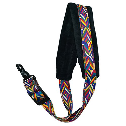 Xinlinke Saxophone Neck Strap Soft Padded Rainbow Braided Pattern for Alto Baritone Soprano Sax