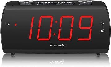 DreamSky Digital Alarm Clock Radio with USB Charging Port and FM Radios, Earphone Jack,..