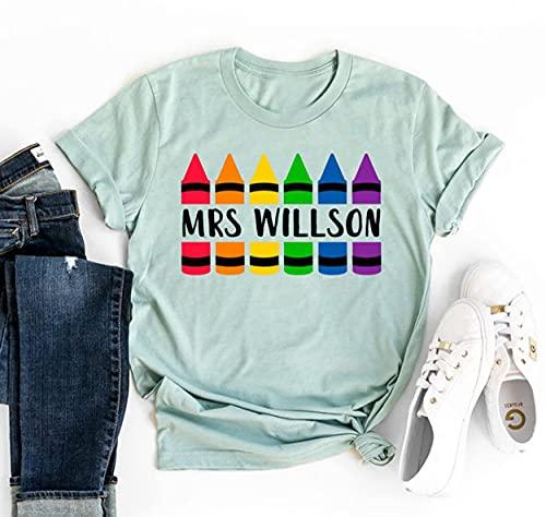 Personalized Crayon Teacher Back To School Tshirt, Custom Pencils Personalized, Personalized Teacher Shirt