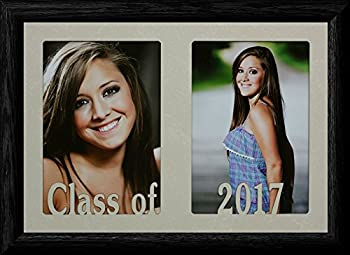 PersonalizedbyJoyceBoyce.com 7x10 Class of 2017 ~ Holds Two Portrait 4x6 or Cropped 5x7 Photos - Graduate Gift!  Black