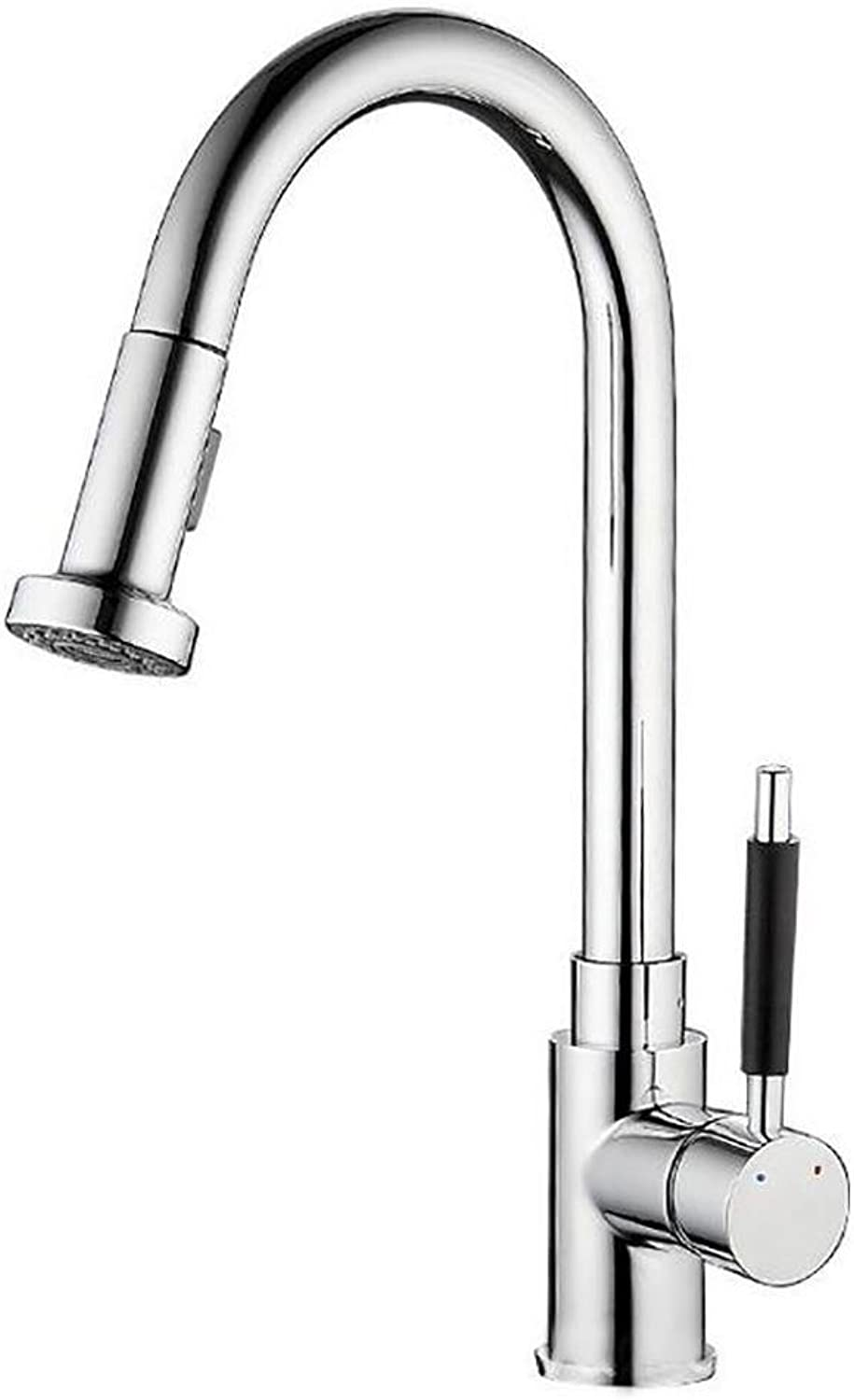 BKPH Modern Kitchen Faucet Pull Out Single Handle Swivel Spout Vessel Sink Mixer Tap Hot and Cold Water