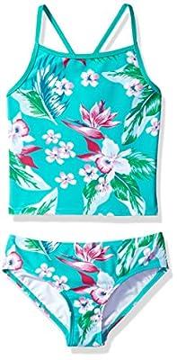 Kanu Surf Girls' Big Melanie Beach Sport 2-Pc Banded Tankini Swimsuit, Alania Floral Green, 10