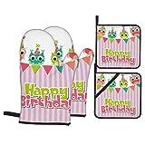 Juego de 4 manoplas para horno y soportes para ollas, estampado de cumpleaños de búhos de bebé rosa, guantes de barbacoa con almohadillas calientes resistentes para cocinar