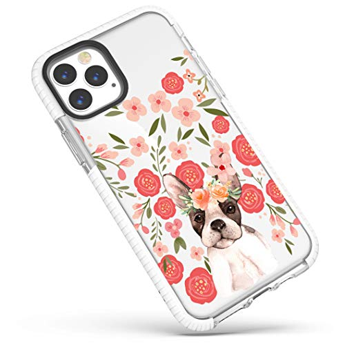 Clear Case for iPhone 12 Pro Max,Trendy Funny Puppy Dog French Bulldog with Pink Flowers Floral Wildflowers Girls Women Cute Soft Protective Clear Case with Design Compatible for iPhone 12 Pro Max