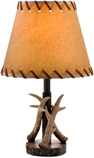Antler Table Lamp Bronze Finish w/Faux Leather Shade - 16.5 H