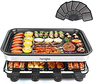 Raclette Grills 8 Person | 8 Mini Pans for Cooking Cheese and Side Dishes & Wooden Spatulas | Adjustable Thermostatic Heat...