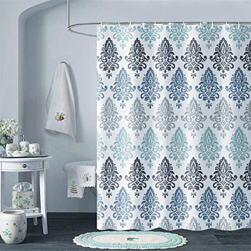X-Labor Wasserabweisend Duschvorhang 240x200cm Dick Textil Stoff Anti-Schimmel inkl. 12 Duschvorhangringe Waschbar Badewannevorhang 240x200cm Muster-G